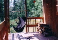 sky chair hanging on the porch